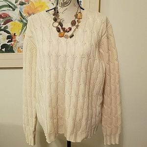 Old Navy Cream Cableknit Crew Sweater